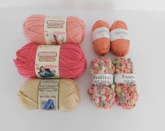 Peach, Pink, and Beige Mixed Lot of Yarn, Destash
