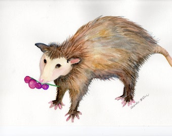 Original possum watercolor painting, animal art, possum with grapes water color painting, Opossum wall art
