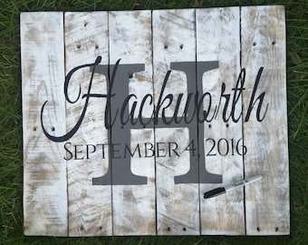 Wedding guest book, wedding guest sign in, personalized wedding gift, Rustic wedding, Barn wedding,  personalized wood wedding sign