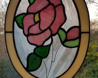 Stained Glass Pink Rose Oval window Sun catcher Tiffany style