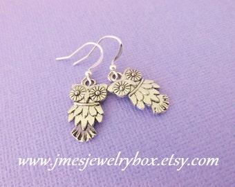 Little silver owl earrings