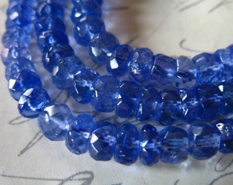 5-50 pcs, TANZANITE Rondelles Beads, Luxe AAAA, 4-5 mm, Periwinkle Blue, faceted, brides bridal december 45