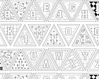 Let's Color Outline Fabric - Alphabet Pennants by Tara Mueller Denim & Dirt - 8262 - Priced by the Panel