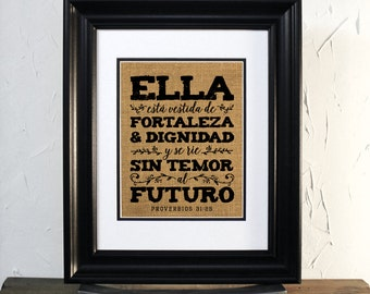 Burlap Sign Wall Decor. Proverbios 31:25 en español, Mujer Virtuosa, Mothers Day, Wife, Sister. Perfect Gift. Unframed.