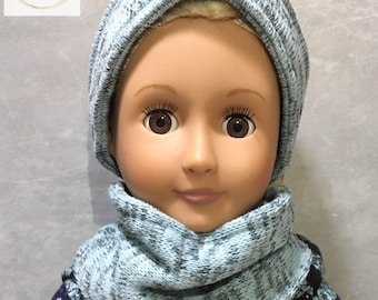 Doll ear and neck warmer set,doll scarf,doll accessories,18 inch doll accessories,doll clothes,doll outerwear