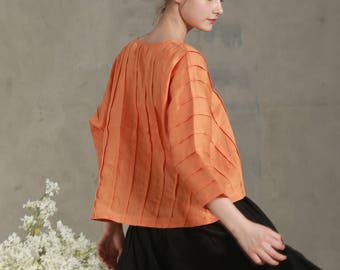 linen tunic shirt in orange, pintucked shirt blouse, pleated linen tunic, oversized linen top, summer top, kaftan, linen dress, linen shirt