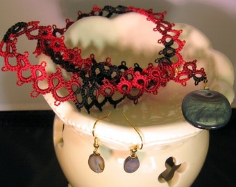 Red Hot Love Goddess Tatted  Necklace Set