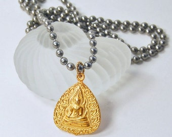 Gold Buddha Necklace. Stainless Steel Chain