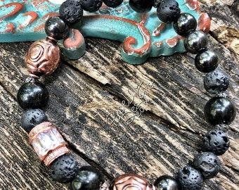 Rose Gold and Copper stack bracelet, Lava Rock, Obsidian, Hematite, ThePurpleLilyDesigns