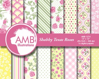 Shabby chic paper, shabby chic rose pattern, floral scrapbook, floral digital papers, floral background, for invitations AMB-1274