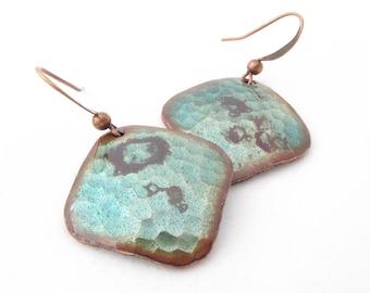 Patina Green Hammered Diamond Earrings