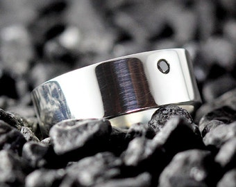 Silver Wedding Band Natural Black Diamond Ring Mens and Womens Jewelry