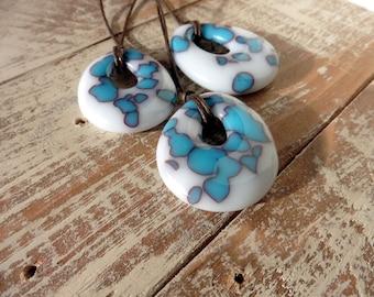 Medium Turquoise Pendant Necklace/Fused Glass