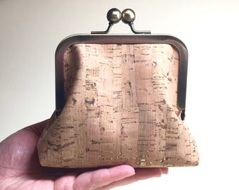 Natural Clutch Purse Kisslock - Small - Cork