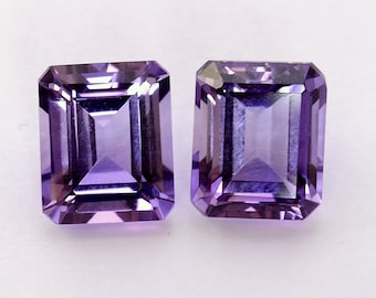 12.54 CTS Natural Amethyst Octagon Cut Pair 12x10 mm Top Purple Shade Gemstones