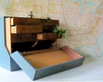 Industrial Wood Tool Box ~ Vintage Woodworkers Tool Box ~ Machinist Tool Box