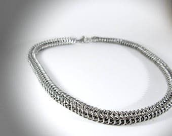Necklace unisex stainless steel - chainmaille Persian side - medieval Jewelry - Silver - man - woman loblada