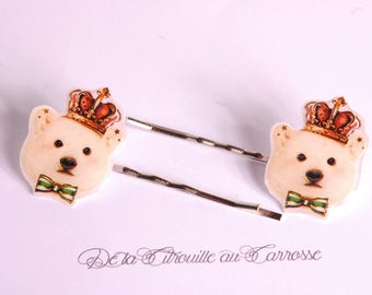 Polar bear hairpin, white bear