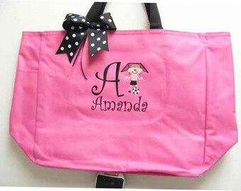Soccer boy or girl Personalized Tote Bag Pink all colors Ribbon Top Bow Preppy Monogram