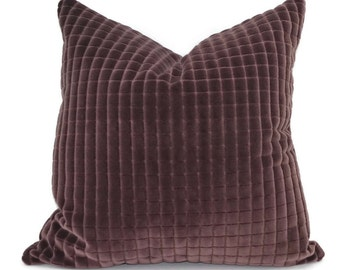Aubergine Cut Velvet Throw Pillow Cover