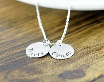 Mother Necklace - Mommy Necklace -Name Necklace - Personalized Necklace - Hand Stamped Necklace, Mom Grandma Necklace