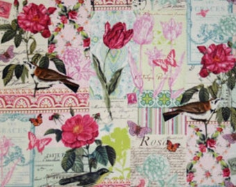 Belle Rose in Pink, French Journal Collection for Michael Miller Fabrics, 1 Yard