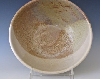 Serving Bowl. Stoneware. Sand and Sky. Creamy White. Speckled Brown. Glossy White.
