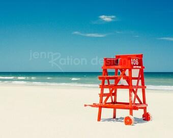 "Beach Photography, New Smyrna Beach, Lifeguard Chair Stand, Red, Beach Art, Beach Hut, Summer, Red White Blue 8"" x 10"" Photo Print"