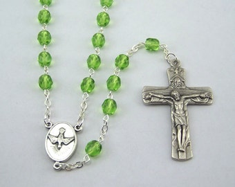 Holy Spirit Holy Family Light Green Rosary (75)