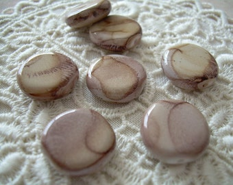 7 Cinnamon Vintage Lucite Lentil Beads Brown Taupe Tan Picture Jasper