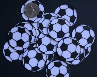 12 Soccer Balls Cutouts Cupcake Toppers, Party Decorations