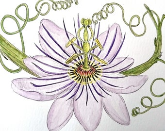 Purple passion flower ink watercolour card, birthday, mothers's day, blank card