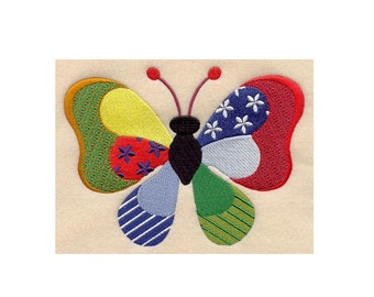 Patchwork Butterfly - I Will Machine Embroider This Design Onto Your Custom Item
