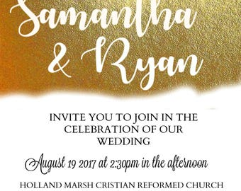 Gold Band Invitation/Stationary DIY or Made to Order *Digital Download*