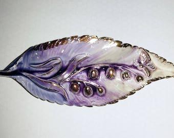 Vintage lilac leaf brooch