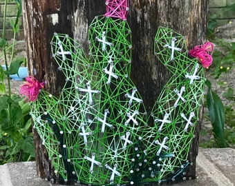 Cactus string art on natural wood block. One of a kind!