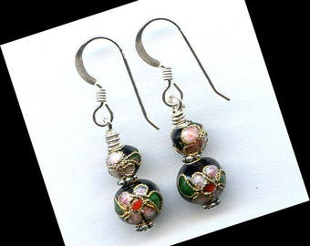 Black Cloisonne Sterling Silver Earrings