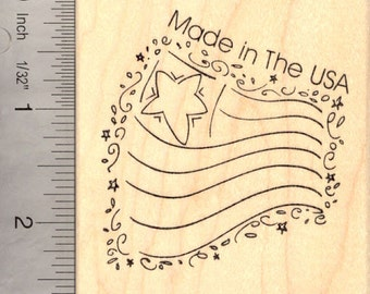Made in the USA Flag Rubber Stamp, American K16014 Wood Mounted
