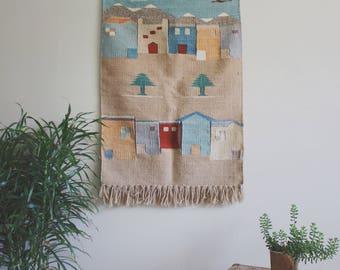 SOLD Woven Wall Hanging Boho Decor Wool Wall Hanging Wall Art Wall Decor Tapestry Wall Hanging Mountain Handmade Tapestry Wall Hanging