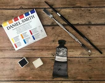 Daniel Smith Fine Art WATERCOLOR hand-poured half pans-BLACK & WHITES