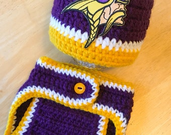 Minnesota Vikings Newborn Football Hat and Diaper Cover Set Baby Shower Gift Coming Home Outfit Knit Crochet