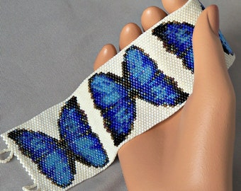 Blue Butterfly Bracelet Pattern - Peyote Stitch Beading Pattern