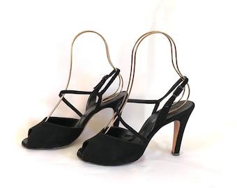 1940's Style Joseph Magnin Strappy Black Peep Toe Heels sz. 8 M