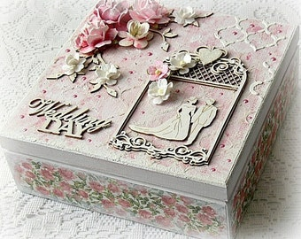 Mixed media wedding box , wedding treasury box , Wedding Day box , keepsake box , mixed media wooden box , pink box , pink memory box