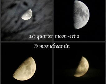 First quarter moon, Choose an image to print at any size, half moon, Winter Solstice 2012, waxing moon, custom moon photo