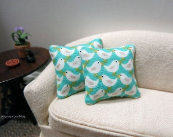 Spring Chicks pillows - set of two - dollhouse miniature