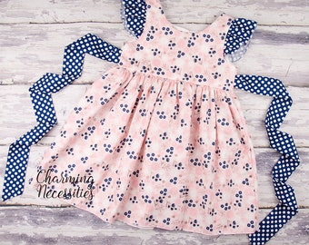 Blush and Navy Floral Dress, Toddler Girls Dress, Girls Special Occasion, Birthday Party Dress, Flutter Sleeve Pinafore, Baby Girl Clothes