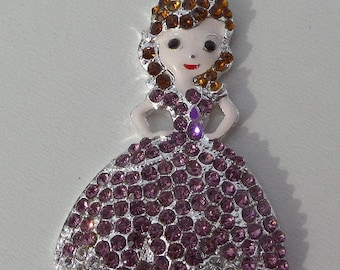 54x31mm Rhinestone Princess Pendant, P16