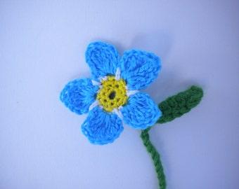 Crochet Flower Blue Forget Me Not - Bookmark