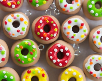 Polymer Clay Donut Charms - Set of 8
